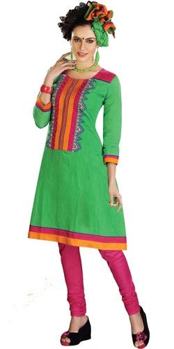 Gorgeous Cotton Printed Green Salwar Suit