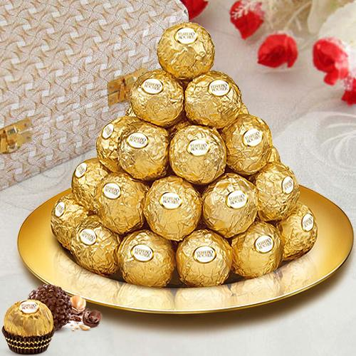 Ferrero Rocher Chocolates N Gold Plated Thali