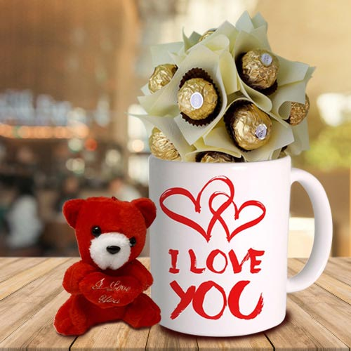 Teddy with Personalized Coffee Mug N Ferrero Rocher Combo