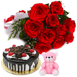 Combo of Cake with Teddy   Red Roses Bouquet