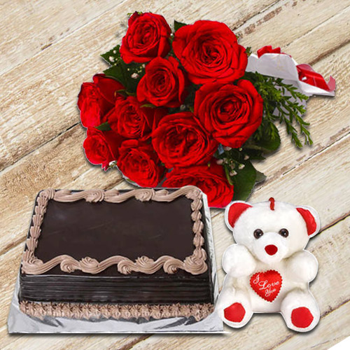 Gorgeous Roses Bunch with Chocolate Cake   Teddy