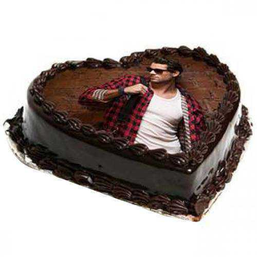 Delectable Heart-Shaped Chocolate Photo Cake