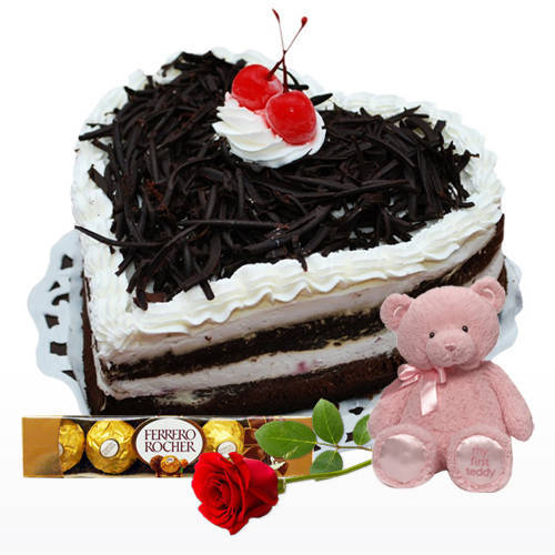 Red Rose with Ferrero Rocher, Black Forest Cake N Teddy