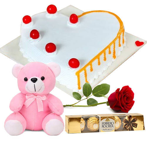 Vanilla Cake with Ferrero Rocher, Teddy N Red Rose