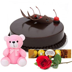 Delectable Chocolate Cake with Teddy, Ferrero Rocher N Rose