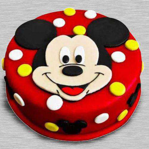 Delicate Mickey Mouse Fondant Cake for Little One