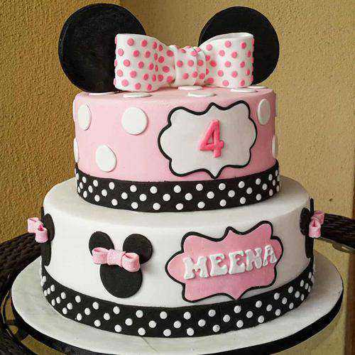 Garnished Two Tier Minnie Designed Cake for Kids