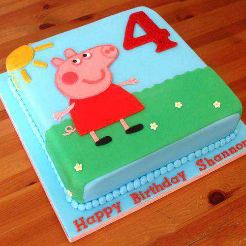 Layered Eggless Peppa Pig Cake for Kids Party