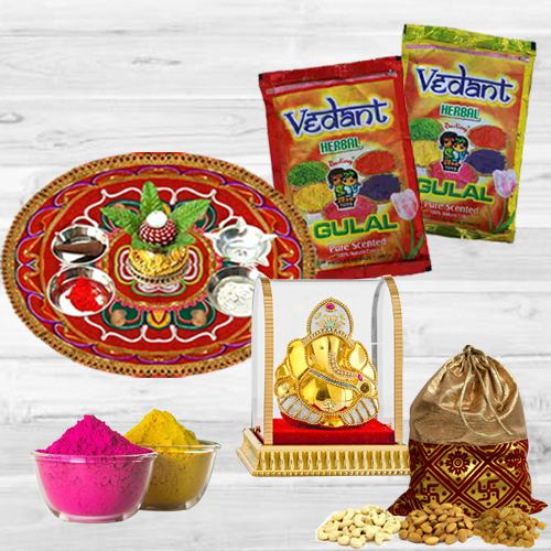Fun Filled Holi Puja Thali with Herbal Gulal, Ganesh Mandap N Dry Fruits Polti