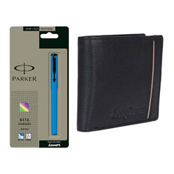 Marvelous gift pack of Parker Pen and Longhorns Leather Wallet