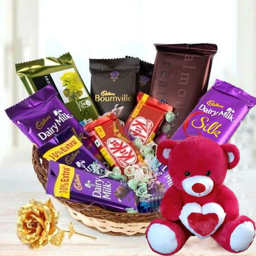 Charming Chocolate Assortments Gift Basket with Teddy N Golden Rose