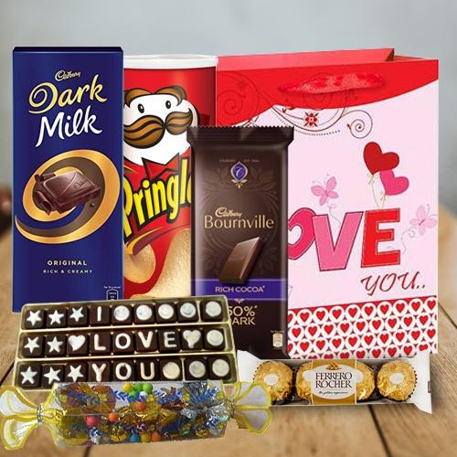 Enthralling Chocolate Treat Gift Hamper with Red Rose