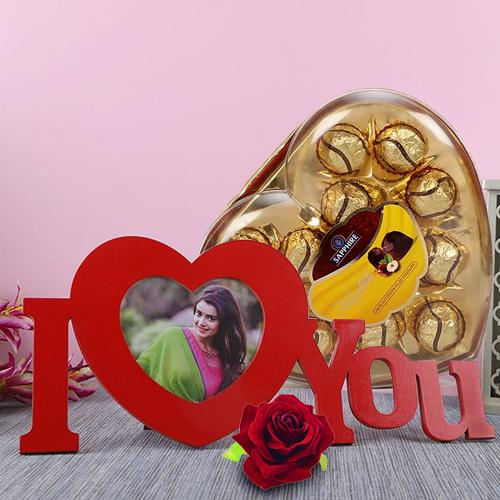 Exclusive Personalized HB ILU with Sapphire Chocolate N Red Velvet Rose