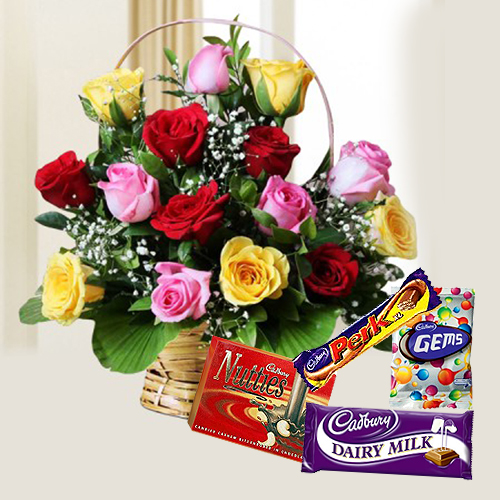 Cadbury Celebrations Pack with Mixed Rose Arrangement