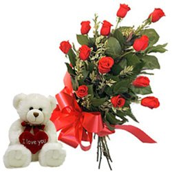 Breathtaking Red Roses Bunch with Teddy
