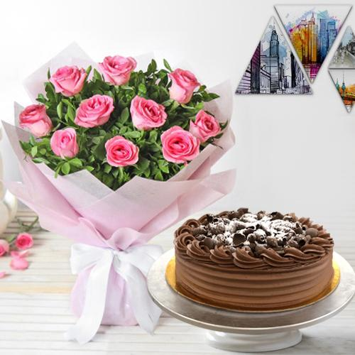 Sweet Pink Roses with Eggless Chocolate Cake<br>