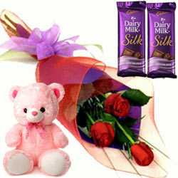 Saggy Small Teddy, Roses and Dairy Milk Silk Chocolate Bars