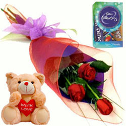 Teddy with Chocos N Red Roses Bouquet