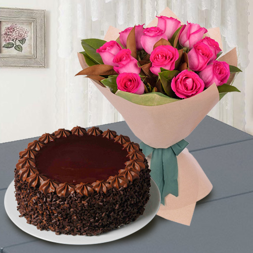 Red Roses N Chocolate Cake Combo