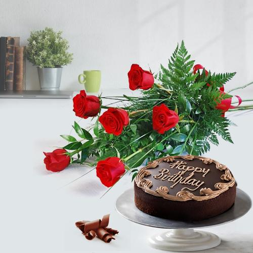 Red Roses Bunch N Chocolate Cake