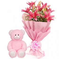 Beautiful Gift Combo of Pink Lily  N  Cute Teddy Bear