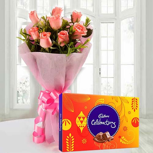 Tempting Cadbury Celebrations with Pink Rose Bouquet