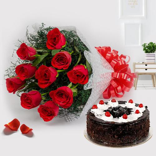 Expressive 12 Red Roses with 1/2 Kg Black Forest Cake