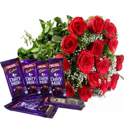 Marvelous Gift of Chocolates N Red Rose Bouquet