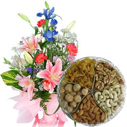 Seasonal Flowers Bouquet with  Assorted Dry Fruits