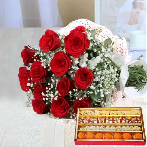 Amazing Hamper of Red Roses N Sweets