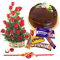 Dazzling Gift Set of Assorted Chocolates, Delicious Cake and Bunch of Red Roses with Rakhi, Free Roli Tika and Chawal for Grand Rakhi Festival