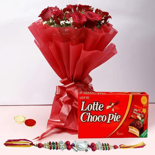 Classy Rakhi Special 12 Red Roses Bunch and Choco Pie Box with Rakhi for Raksha Bandhan Celebration