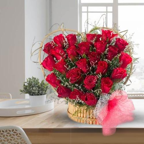 Impressive Red Roses Heart Shaped Arrangement