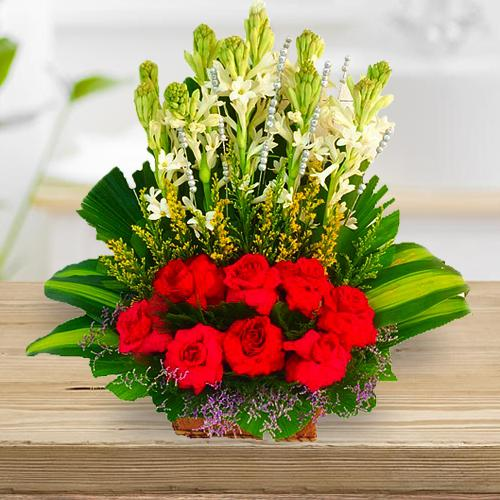 Aromatic Arrangement of Red Roses n Rajnigandha Sticks