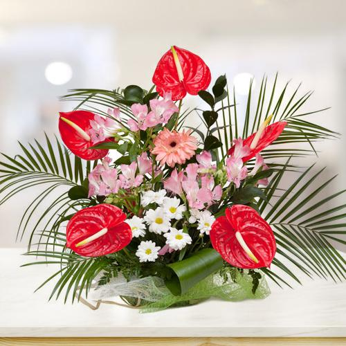 Brilliant Arrangement of Anthurium with Assorted Flowers