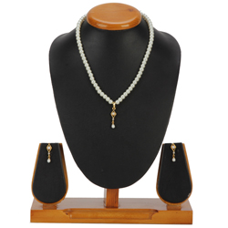 Outstanding Fashion Pearl Barfi Shaped Pendent  N  Earring Set
