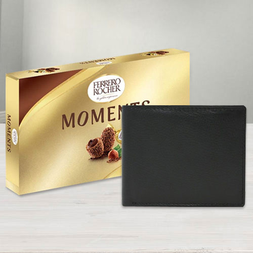 Appealing Leather Wallet with Ferrero Rocher Chocolates for Gents