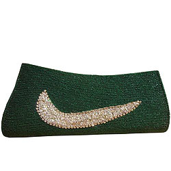 Arresting Green Spice Art Ladies Purse with Touch of Soft Heart
