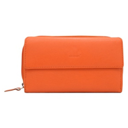 Extravagant Urban Forest Orange Coloured Ladies Wallet Made of Genuine Leather
