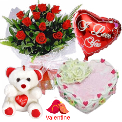 <u><font color=#008000> MidNight Delivery : </FONT></u>:12 Exclusive  Dutch Red    Roses  Bunch with Cute Teddy Bear, Love Cake 1 Lb and  Heart Shaped Balloons