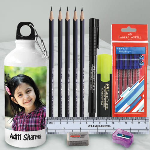 Stunning Personalized Photo Sipper with Faber Castell School Kit