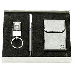 Amazing Steel Finish Key Ring, Pen and Visiting Card Holder