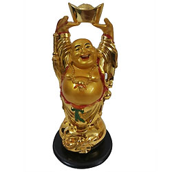 Extraordinary Standing Laughing Buddha Idol with Ingot