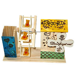Dynamic Love Wooden Pen Stand with House and Wheel Swing