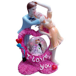 You Are My World Couple with LED Lighted Crystal Globe Showpiece