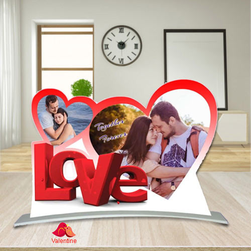 Best Twin Heart Shape Personalized Photo Frame with Love Message