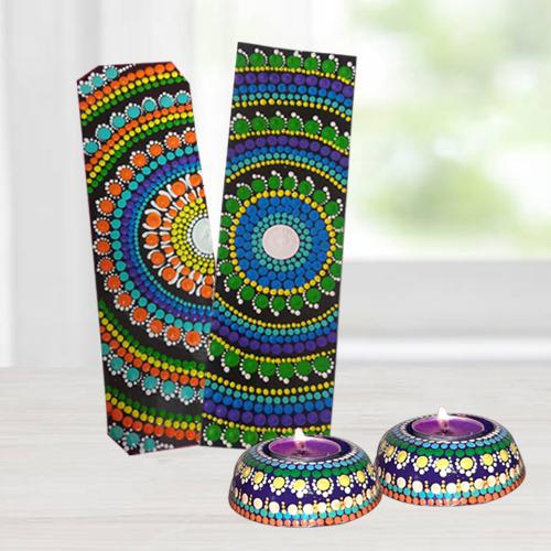 Attractive Dot Mandala Art Handmade Gift Set of Diya n Bookmarkers