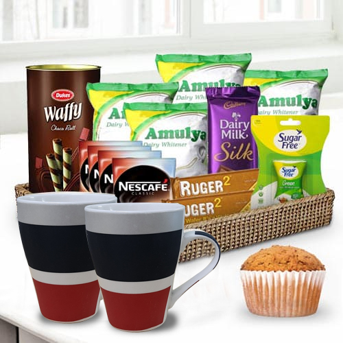 Delicious Coffee N Chocolate Gift Basket for Him
