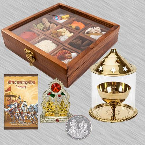 Exquisite Housewarming Puja Gift in Wooden Box