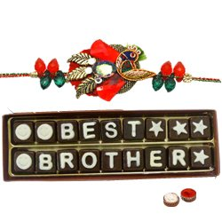"""Astonishing 18 Pieces of """"Best Brother Chocolate"""" Pack with Rakhi, Roli Tilak N Chawal for your Caring Brother"""